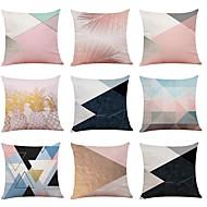cheap -9 pcs Linen Pillow Cover, Simple Geometric Pattern Textured New Arrival European Style