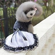 economico -Prodotti per cani Vestiti Abbigliamento per cani Cristalli Nero / Bianco Miscela polyester / cotone Costume Per Primavera & Autunno Estate Per femmina Da serata stile sveglio