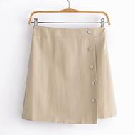 זול -עור עור של נשים מעל הברך קו חצאיות - בצבע מלא