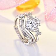 זול -בגדי ריקוד נשים זירקונה מעוקבת טבעת רבת אצבעות יהלום מדומה לב מסוגנן Fashion Ring תכשיטים כסף עבור יומי 3pcs