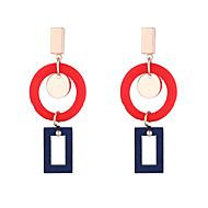 billige -Dame geometrisk Dråbeøreringe dingle øreringe Træ Øreringe Koreansk Mode Moderne Smykker Gul / Kaffe / Rød Til Daglig Gade Arbejde Festival 1 Par