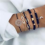 ieftine -5pcs Pentru femei Multistratificat Brățări cu Talismane Bratari Vintage Set de brățări MOON Inimă Floare Modă Boho Elegant Brățări Bijuterii Negru Pentru Petrecere Cadou
