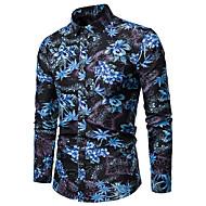 povoljno -Veći konfekcijski brojevi Majica Muškarci Pamuk Cvjetni print Klasični ovratnik Print Plava