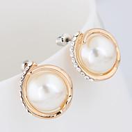 Χαμηλού Κόστους -Γυναικεία Κλασσικό Κουμπωτά Σκουλαρίκια Σκουλαρίκι Απομίμηση Μαργαριταριού Προσομειωμένο διαμάντι Σκουλαρίκια Απλός Ευρωπαϊκό Μοντέρνα Κοσμήματα Χρυσό Για Πάρτι Επέτειος Αρραβώνας Καθημερινά Δουλειά