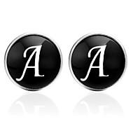 저렴한 -문자 블랙 / 실버 / 브라운 커프링크스 유리 / 구리 Alphabet Shape 정장 / 한국어 남여 공용 의상 보석 제품 데이트 / 애인