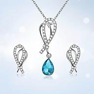 저렴한 -여성용 크리스탈 브리 올레 트 쥬얼리 세트 드롭 유럽의, 유행의, 패션 포함 스터드 귀걸이 팬던트 목걸이 블루 / 핑크 제품 파티 거리 홀리데이 제전 / 3PCS