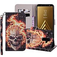 Custodia Per Samsung Galaxy A7 (2018) / A6+ (2018) A portafoglio / Porta-carte di credito / Con supporto Integrale Teschi Resistente pelle sintetica per A5(2018) / A6 (2018) / A6+ (2018)