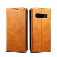 מגן עבור Samsung Galaxy גלקסי S10 פלוס / Galaxy S10 E ארנק / מחזיק כרטיסים כיסוי מלא אחיד קשיח עור אמיתי ל S9 / S9 Plus / גלקסי S10