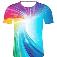 billige -T-skjorte Herre - Stripet / 3D / Grafisk, Trykt mønster Rock / overdrevet Regnbue XXL