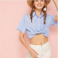 billige -Dame - Stribet Skjorte Blå S