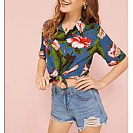 billige -Dame - Blomstret Skjorte Blå S