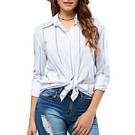 billige -Dame - Stribet Skjorte Hvid M