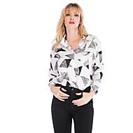 billige -Dame - Geometrisk / Farveblok Patchwork Skjorte Hvid S