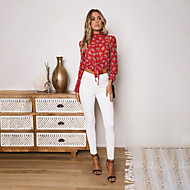 billige -Dame - Ensfarvet / Leopard Bluse Rød M