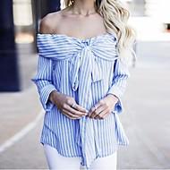 billige -Dame - Stribet Blondér Skjorte M
