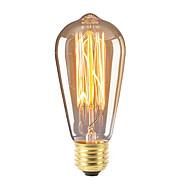 abordables -1pc 40 W E26 / E27 ST58 Blanco Cálido 2300 k Retro / Regulable / Decorativa Bombilla incandescente Vintage Edison 220-240 V