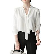 billige -Bluse Dame - Blomstret, Trykt mønster Grunnleggende Hvit US2