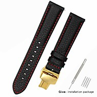 halpa -aitoa nahkaa / Nahka / Vasikankarva Watch Band Hihna varten Musta 17cm / 6.69 Tuumaa / 18cm / 7 tuumaa / 19cm / 7.48 tuumaa 1cm / 0.39 tuumaa / 1.2cm / 0.47 tuumaa / 1.3cm / 0.5 tuumaa