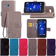 זול -מגן עבור HTC U11 / HTC Desire 12+ ארנק / עם מעמד / נפתח-נסגר כיסוי מלא אחיד / פרפר / פרח קשיח עור PU ל HTC U11 / HTC U Ultra / HTC Desire 12+
