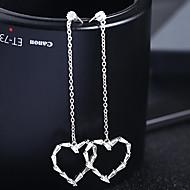 halpa -Naisten Hopea Cubic Zirkonia Korvarenkaat S925 Sterling Hopea korvakorut Heart Korut Kulta / Hopea Käyttötarkoitus Häät Kihlaus 1 Pair