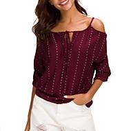 ราคาถูก -สำหรับผู้หญิง เสื้อสตรี พื้นฐาน ลายพิมพ์ ลายจุด ขาว US14