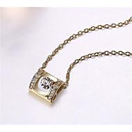 levne -Dámské Kubický zirkon Náhrdelníky s přívěšky Geometrické Radost Módní Pozlacené Zlatá Bílá 45+6 cm Náhrdelníky Šperky 1ks Pro Dar Denní