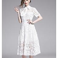abordables -Mujer Elegante Línea A Vestido - Retazos, Un Color Midi