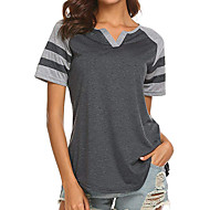 cheap -Women's Going out Casual / Daily Basic / Street chic T-shirt - Solid Colored / Striped Black US4