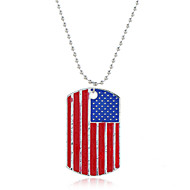 levne -Dámské Náhrdelníky s přívěšky Klasika americká vlajka Vlajka Evropský Moderní Sladký Módní Chrome Stříbrná 40+5 cm Náhrdelníky Šperky 1ks Pro Denní Street Dovolená Festival