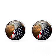 رخيصةأون -أسود / فضي / ذهبي أزرار أكمام سبيكة علم / العلم الأمريكي كلاسيكي / أوروبي رجالي مجوهرات من أجل مناسب للبس اليومي / مهرجان
