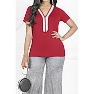 billige -V-hals Store størrelser T-skjorte Dame - Fargeblokk, Paljetter / Chiffon / Glimmer Fuksia XXXL / Vår / Sommer / Høst