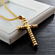 cheap -Men's Pendant Necklace Classic Cross Fashion Titanium Steel Gold Black Silver 60 cm Necklace Jewelry 1pc For Daily Work
