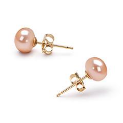 お買い得  イヤリング-ピンク ピンク 真珠 スタッドピアス - ゴールド 誕生石です. 用途