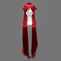 voordelige Anime cosplay-Cosplay Pruiken Black Butler Grell Sutcliff Rood Lang Anime Cosplay Pruiken 90 CM Hittebestendige vezel Mannelijk