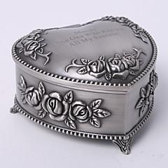 Personalizowana retro szkatułka na biżuterię w kształcie serca, tutania, motyw kwiatowy