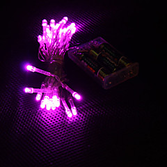 お買い得  LED ストリングライト-3M ストリングライト 30 LED Dip LED ピンク パーティー / 装飾用 / ホリデー 単3乾電池 1個 / # / IP44