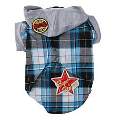 abordables Accesorios Mascota-Perro Camiseta / Saco y Capucha Ropa para Perro Ajedrez Azul Algodón Disfraz Para mascotas Hombre Moda