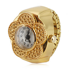 cheap Floral Watches-Women's Ring Watch Japanese Quartz Casual Watch Alloy Band Analog Flower Fashion Gold