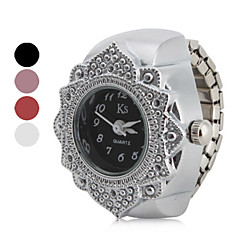 cheap Floral Watches-Women's Ladies Ring Watch Japanese Quartz Casual Watch Stainless Steel Band Analog Flower Fashion Silver - Black Red Pink One Year Battery Life / SSUO SR626SW
