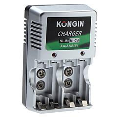 お買い得  バッテリー-ニッケル水素 単3 単4 9V電池用の充電器Kongin