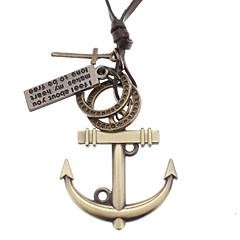 preiswerte Halsketten-Herrn Anhängerketten - Leder Kreuz, Anker Braun-Gold Modische Halsketten Für Weihnachts Geschenke, Alltag