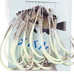 Anzol noctilucentes Para Sea-Pesca com 45CM-Line (30 Pcs / Pack) 12 # -15 # HQ002 (Amarelo)