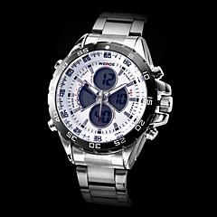 WEIDE Herre Militærur Armbåndsur Quartz Japansk Quartz LCD Kalender Kronograf Vandafvisende Dobbelte Tidszoner alarm Rustfrit stål Bånd