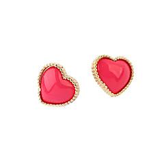 billige Øreringe-Dame Hjerte Zirkonium Stangøreringe - Kærlighed Hjerte Sød Stil Hjerte Til Daglig