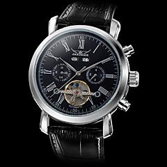 お買い得  メンズ腕時計-男性用 リストウォッチ 機械式時計 自動巻き 透かし加工 レザー バンド ハンズ ぜいたく ブラック - ホワイト ブラック / ステンレス