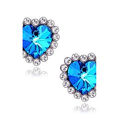 Γυναικεία Κουμπωτά Σκουλαρίκια Συνθετικό ζαφείρι Love κοσμήματα πολυτελείας Συνθετικοί πολύτιμοι λίθοι Προσομειωμένο διαμάντι Κράμα Heart