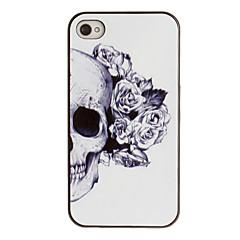 Недорогие Кейсы для iPhone 4s / 4-Череп с розой оформлен Ear PC Pattern Футляр с черной рамкой для iPhone 4/4S