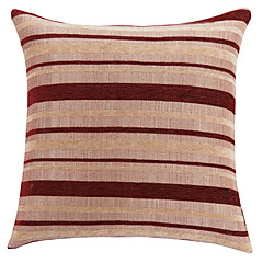 "18"" Square Traditional Red Striped Polyester Decorative Pillow Cover"