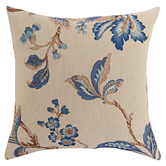 "18"" Square Traditional Floral Beige Polyester Decorative Pillow Cover"