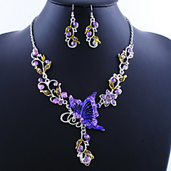 Women's Jewelry Set Drop Earrings Pendant Necklaces European Vintage Costume Jewelry Alloy Butterfly Necklaces Earrings For Party Special